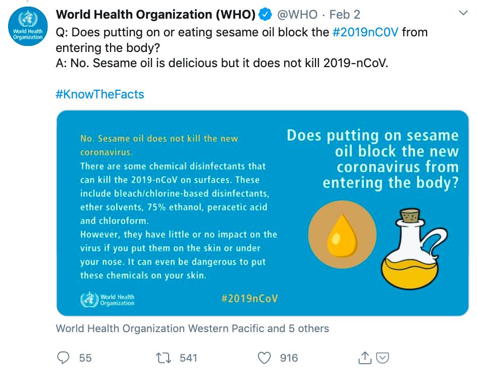 WHO tweet, sesame oil